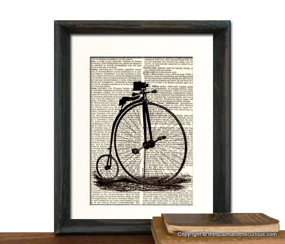 Bicycle Art Print - Mothers Day Fathers Day Graduation Gift Present - Home Office Decor MATTED