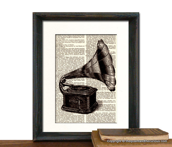 Victrola Art Print - Mothers Day Fathers Day Graduation Gift Present - Home Office Decor MATTED