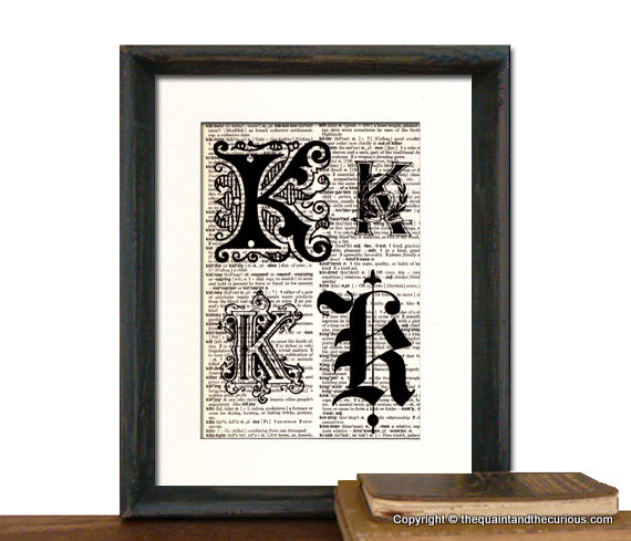 Letter K Monogrammed Gift Personalized Initial Art Print - Wedding Mothers Day Fathers Day Graduation Home Office Decor - MATTED