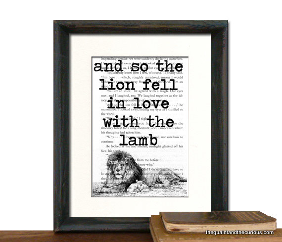 Twilight Art Print Decor - The Lion Fell In Love With The Lamb on Twilight Book Page - MATTED