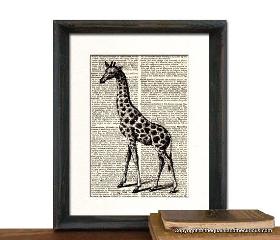 Giraffe Art Print - Mothers Day Fathers Day Graduation Gift Present - Home Office Decor MATTED