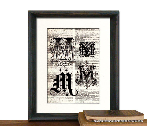 Letter M Monogrammed Gift Personalized Initial Art Print - Wedding Mothers Day Fathers Day Graduation Home Office Decor - MATTED