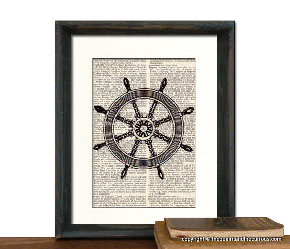 Nautical Decor - Ship Wheel Art Print - Mothers Day Fathers Day Picture Gift Present Home Office - MATTED