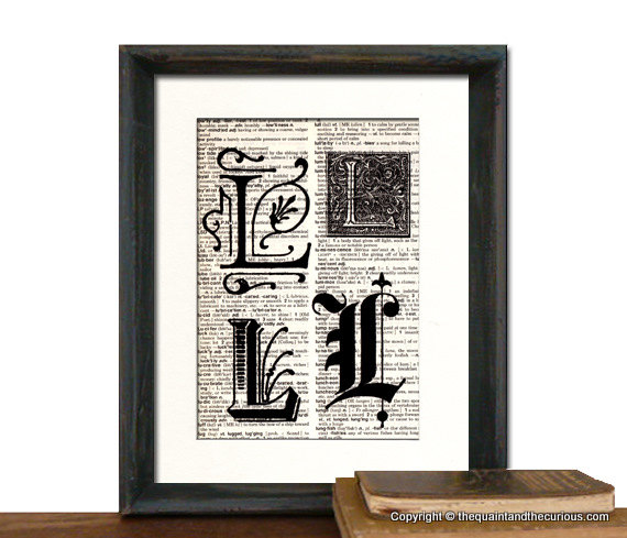 Letter L Monogrammed Gift Personalized Initial Art Print - Wedding Mothers Day Fathers Day Graduation Home Office Decor - MATTED