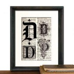Letter D Monogrammed Gift Personalized Initial Art Print - Wedding Mothers Day Fathers Day Graduation Home Office Decor - MATTED