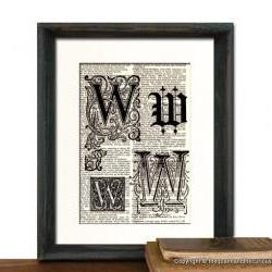 Letter W Monogrammed Gift Personalized Initial Art Print - Wedding Mothers Day Fathers Day Graduation Home Office Decor - MATTED