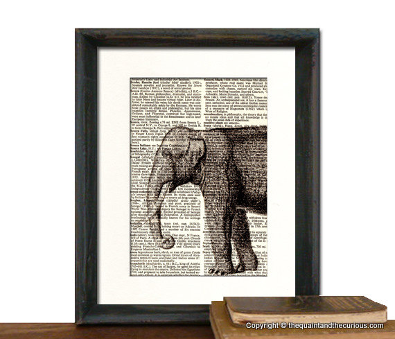 Elephant Art Print Fathers Day Graduation Gift Present Home Office Decor Matted On Luulla
